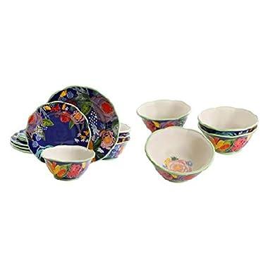 The Pioneer Woman Celia Blue 12-Piece Dinnerware Set & Blue 6.75-Inch Bowls Set of 4