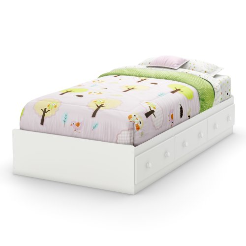(South Shore Savannah Collection Twin Bed, Pure White)