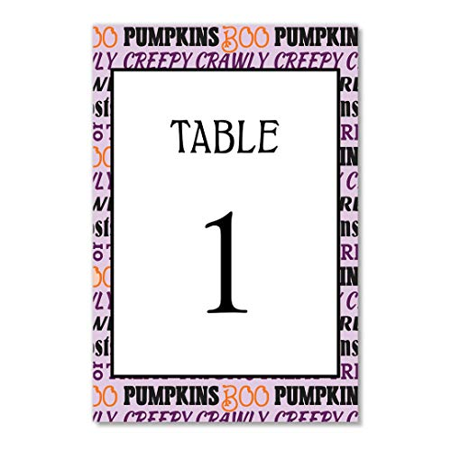 Halloween Parties Table Numbers Pack of 25 Single Sided 4