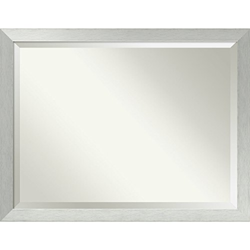 Bathroom Mirror Oversize Large, Brushed Sterling Silver: Outer Size 44 x 34