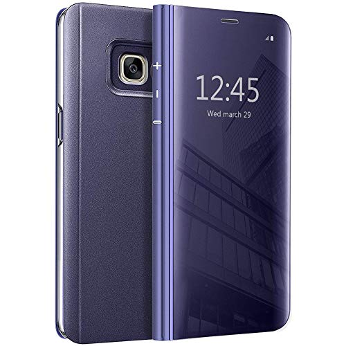 Galaxy A5 2017 Flip Case, Eabuy Mirror Plating Hard PC +PU Leather Semi-Transparent Standing View Case Cover for Samsung Galaxy A5 (2017) A520 5.2
