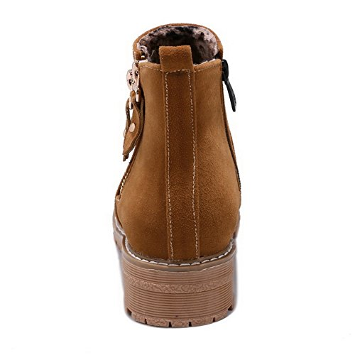 AdeeSu Womens Chunky Heels Platform Low-Cut Uppers Microsuede Boots SXC02682 Brown 7A27gE8
