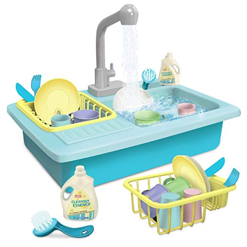 GrowthPic Toy Kitchen Sink Play Set with Running Water, Kitchen Utensils Dishwasher Pretend Play Toys Set with Faucet and Drain for Kids and Toddlers