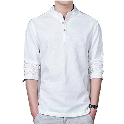 HZCX FASHION men's long sleeve cotton blends linen shirts pullover light shirt SJXZ155-M101-35-W-US L(44)TAG 5XL