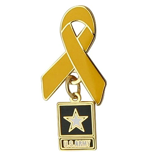 Yellow Ribbon with Army Star Charm Lapel Pin
