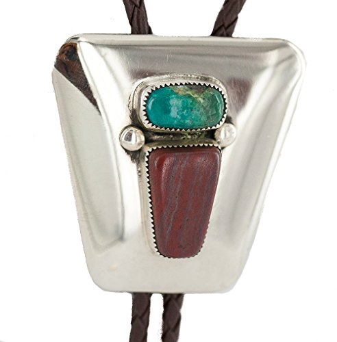 $260 Tag Handmade Authentic Navajo Leather Nickel Natural Turquoise Jasper Native American Bolo Tie