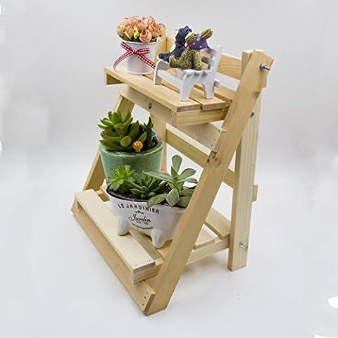 UName Succulent Folding Planter Shelf, Planter Holder, Organizer Rack, Wood Plant Pot Shelf Stood. (Wood - Wood Pot Rack