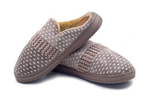 Mules Coton Couple WDGT Hiver Pantoufles Accueil Slip Homme Chaussons Chaussures Intérieure Doublure on Peluche Slippers Femme 004 Automne Douce fvvqI4