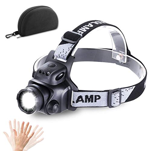 HEADLAMP High Lumen Brightest CREE LED Work Headlight USB Rechargeable IP65 Waterproof 90°Rotatable Flashlight Torch with Zoomable Head Lamp Best Head Lights for Camping Cycling Hiking Hunting Outdoor