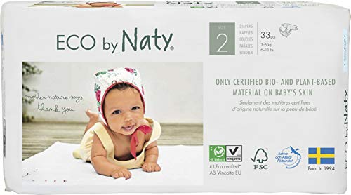 Eco by Naty, Size 2, 132 Diapers, 6-13 lbs, ONE MONTH supply, Plant-based premium ecological diaper with 0% oil plastic…