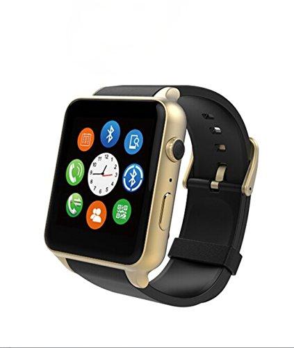 AWOW Reloj Inteligente teléfono móvil Bluetooth de Ritmo cardiaco Reloj teléfono móvil con Pantalla táctil, Color Negro y Dorado: Amazon.es: Electrónica