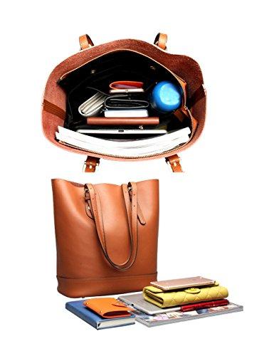 pelle grande capacità vera borse a per donne a tote spalla le secchiello Borsa in marrone borse qXwYvgxxP