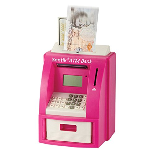 Sentik ATM Machine Mini Home ATM Service Cash Money Machine Saver Piggy Bank Savings Holder Card Pin Digital Display Counter Takes Notes & Coins In Pink