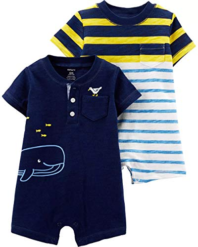 Carter's Baby Boy's 2 Pack Cotton Romper Creeper Set (12 Months, ()