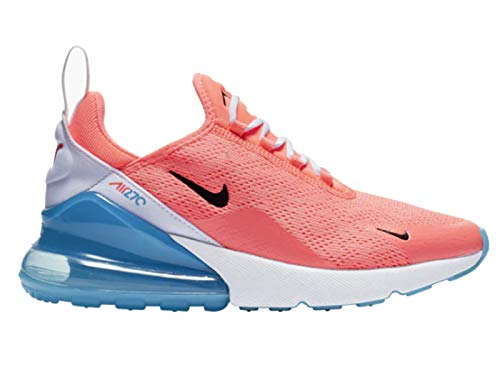 Nike Women's Air Max 270 Lava Glow/Black/White/Blue Fury Mesh Cross-Trainers Shoes 9.5 M US
