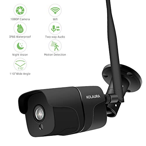 Kolaura Outdoor Security Camera, HD 1080P Wireless IP66 Waterproof Surveillance Bullet Camera with IR Night Vision, 2-Way Audio, Motion Detection & Alert