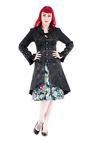 Hearts & Roses Womens Andromeda Rave Victorian Steampunk Corset Back Long Coat - Black (US 8) (Roses Brocade Lace Up Corset)