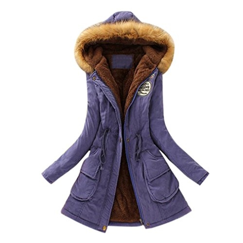 Knit Collar Jacket (Womens Warm Long Coat Fur Collar Hooded Jacket Slim Winter Parka Outwear Coats (M, Purple))