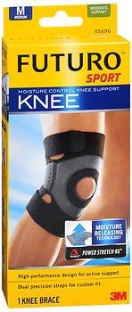 Futuro Sport Moisture Control Knee Support Medium Black, 45696EN, Pack of -