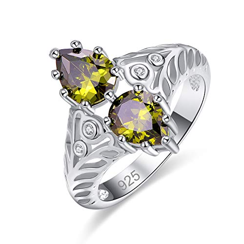 Humasol 925 Sterling Silver Filled Cubic Zirconia 2 Pear Peridot Band Ring for Women Girl