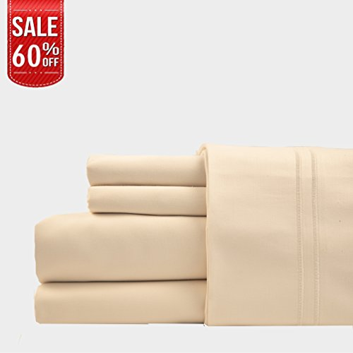 LINENWALAS 100% Cotton Bed Sheet – 1000 Thread Count Deep Pocket 4 Piece Sheets|Silk Like Soft, Hypoallergenic, Breathable & Cooling Sateen|Hotel Luxury Bedsheets Clearance Deal (Queen, Ivory)