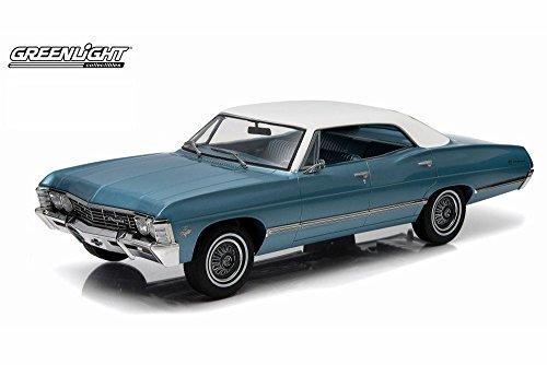 1967 Chevy Impala Sport Sedan, Blue with White Roof - Greenlight 19008 - 1/18 Scale Diecast Model Toy (Sedan Diecast Model)