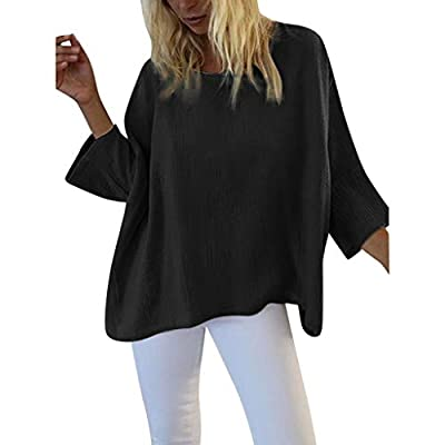 aihihe Women Solid Batwing Sleeve Long Sleeve Pullover Dolman Tunic Tops Round Neck Loose Casual Blouses