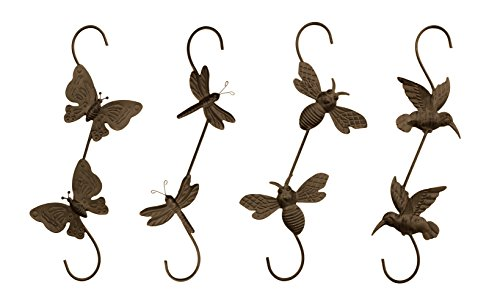 Cheap Set of 4 Decorative Metal S Hanging Basket Plant Hooks – Hummingbird, Butterfly, Bee & Dragonfly