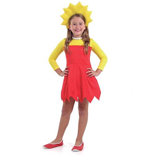 Lisa Simpsons Infantil Sulamericana Fantasias Amarelo/Vermelho M 6/8 Anos