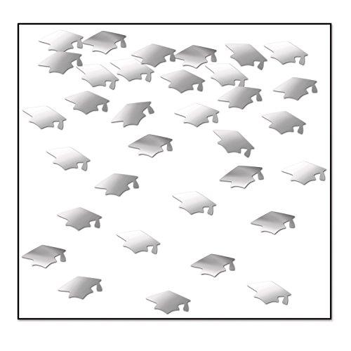 - Beistle CN017  Grad Caps Confetti, Silver