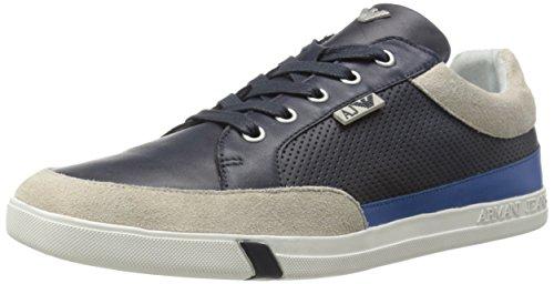 Armani Jeans Men's Perforated Leather Fashion Sneaker, Blue, 40 EU/7 M US