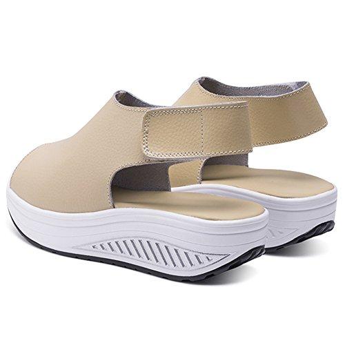 ANDAY Womens Casual Magic Stick Sandals Peep-Toe Flatform Sports Sandals Beige brW3IZyM