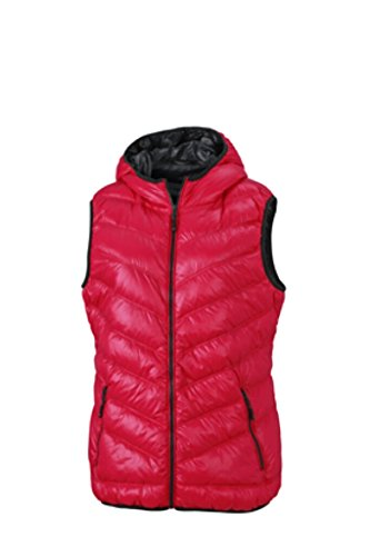 JAMES & NICHOLSON Ultra light down vest with hood in casual style Magenta/Graphite