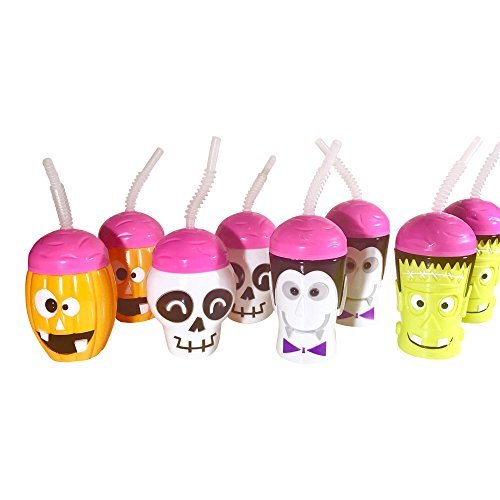 Kids Halloween Plastic Character Cups with Flexible Straws Party Pack (Pack of 8)