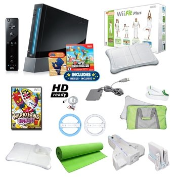 Top Quality Nintendo Wii Black Super Mario Holiday Bundle with Wii Fit Plus, Yoga Mat, Games, Wheels, and More By Nintendo (New) - Nintendo Wii Fit Mat