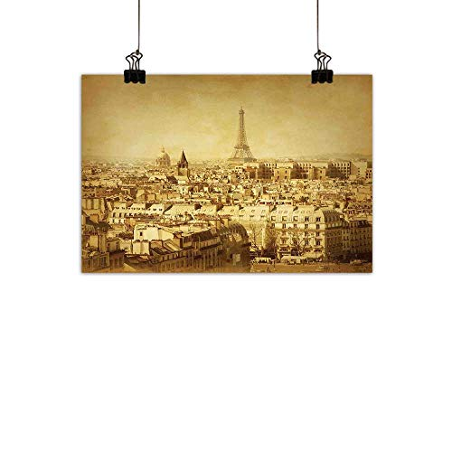 duommhome Eiffel Tower Art Oil Paintings Classic Photo of Eiffel Tower Paris National Landmark Old Album Memories Vintage Canvas Prints for Home DecorationsBrown 20