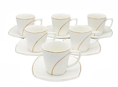 LA Prestige Kitchen Graceful Coffee or Tea Set of 6 China Cups and Saucers with Gold Rim 6 oz (Gold Arc)