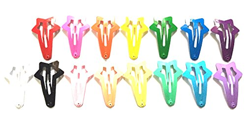 Cover Hair Clip Snap - 30 Pcs Star Hair Snap Clip Size 40mm (Mix Bright and Pastel Tone) 15 Colors