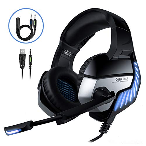 CHEREEKI Cascos Gaming Cascos para Juegos PS4, PC, Xbox One Auriculares Gaming Estereo Ajustable Gaming con Microfono y Control de Volumen, Bass Surround y Cancelacion de Ruido (Bleu)