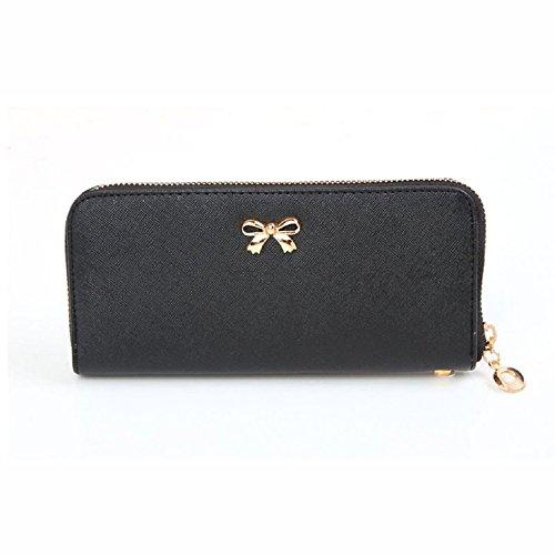 black-fashion-women-zipper-bowknot-purse-solid-wearable-wallet-purse-handbag
