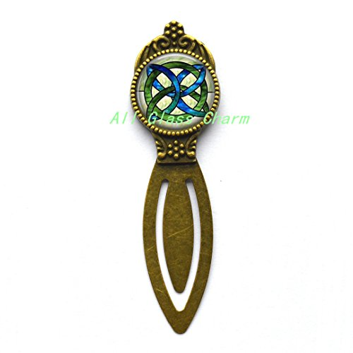 Charming Bookmarker,CELTIC WEDDING Jewelry - Stained Glass Green and Blues Celtic Knot - Celtic Knot Bookmarker - Irish Jewellery - Celtic Bridal ()