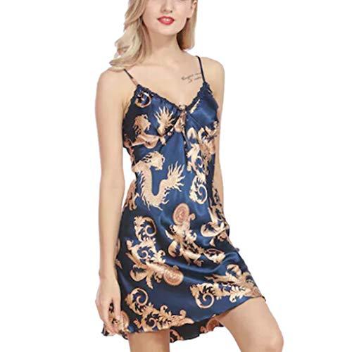 (kaifongfu Summer for Women, Ladies Sleepwear Sleeveless Printed Nightwear Satin Lingerie Underwear(Blue,XL))