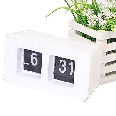 Erasky Modern Retro Auto Flip Clock Desk Table File Down Page Clock
