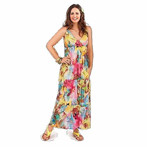 Dames Taille Maxi Robe 6-8 10-12 14-16 18-20 Nous Tailles Floral Jaune