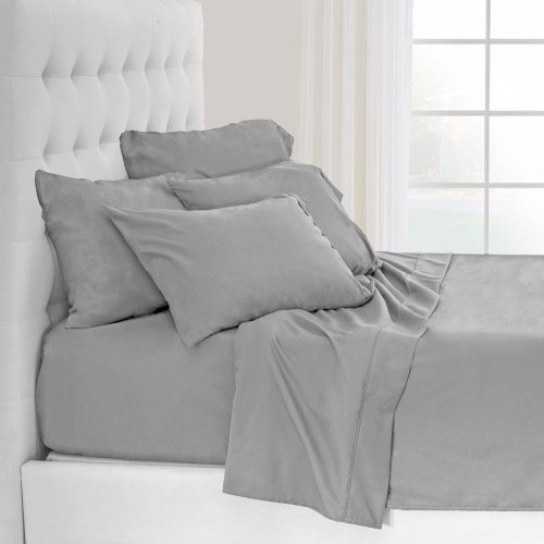 Bare Home Premium 1800 Ultra-Soft Microfiber Collection Sheet Set - Double Brushed - Hypoallergenic - Wrinkle Resistant - Deep Pocket (King, Light Grey) by Bare Home (Image #3)