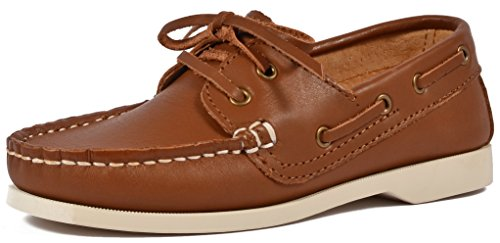 SKOEX Boy's Classic Boat Shoes Leather Lace Up Oxford Loafers(Toddler/Little Kid) US size 1 (Us Size Chart Kids)