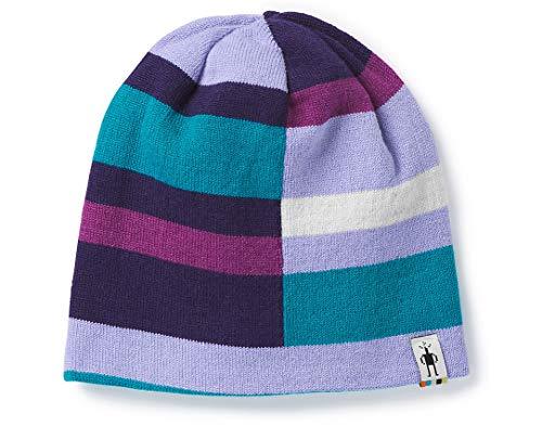 (Smartwool Kids Girl's Wintersport Stripe Hat (Little Kids/Big Kids) Purple Mist Heather L/XL)