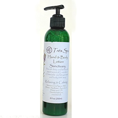 Très Spa Sanctuary Hand and Body Lotion - light and penetrating with nourishing Shea butter and Hemp seed Oil (8oz)