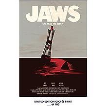 RARE POSTER steven spielberg JAWS movie 1975 simplistic REPRINT #'d/100!! 12x18