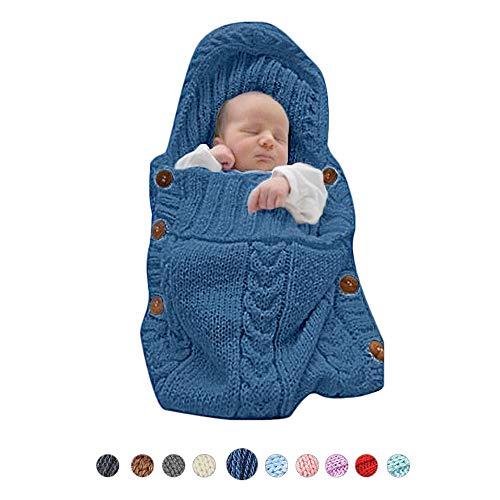 (XMWEALTHY Infants Baby Blankets Cute Newborn Baby Girls Swaddle Blankets Toddler Boys Blankets Newborn Gifts Blue)